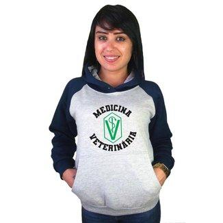 Moletom Canguru Feminino Raglan Faculdade Curso Medicina Veterinária