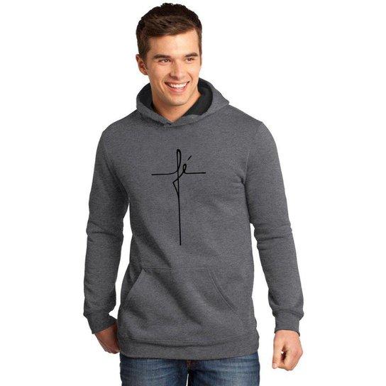 Moletom Canguru Masculino Premium Religioso Fé Gospel - Cinza