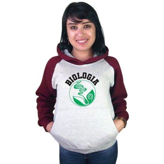 Moletom Canguru Raglan Faculdade Curso Biologia Feminino - Bordô