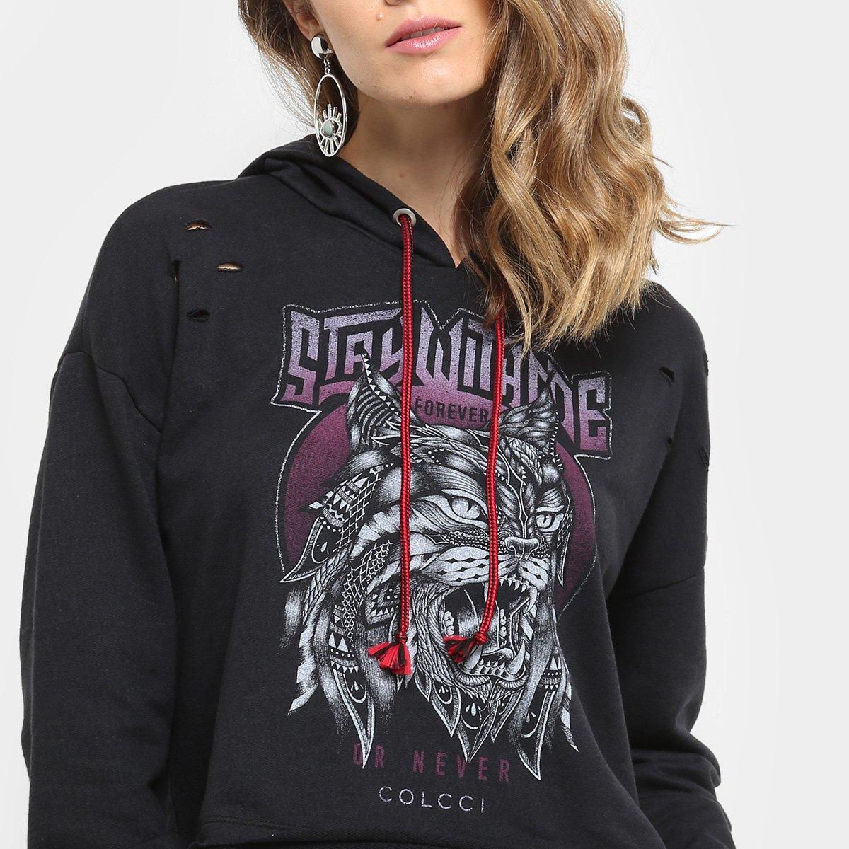 Moletom Colcci Cropped Estampado Furos Capuz Feminino - Compre Agora ... fddbe0fb5d