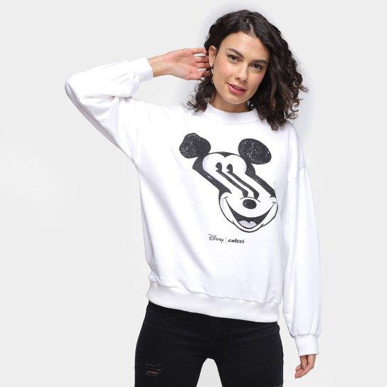 Moletom Colcci Disney Mickey Distortion Feminino - Off White