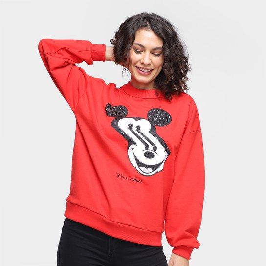 Moletom Colcci Disney Mickey Distortion Feminino - Vermelho