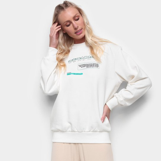 Moletom Colcci Sustentabilidade Feminino - Off White