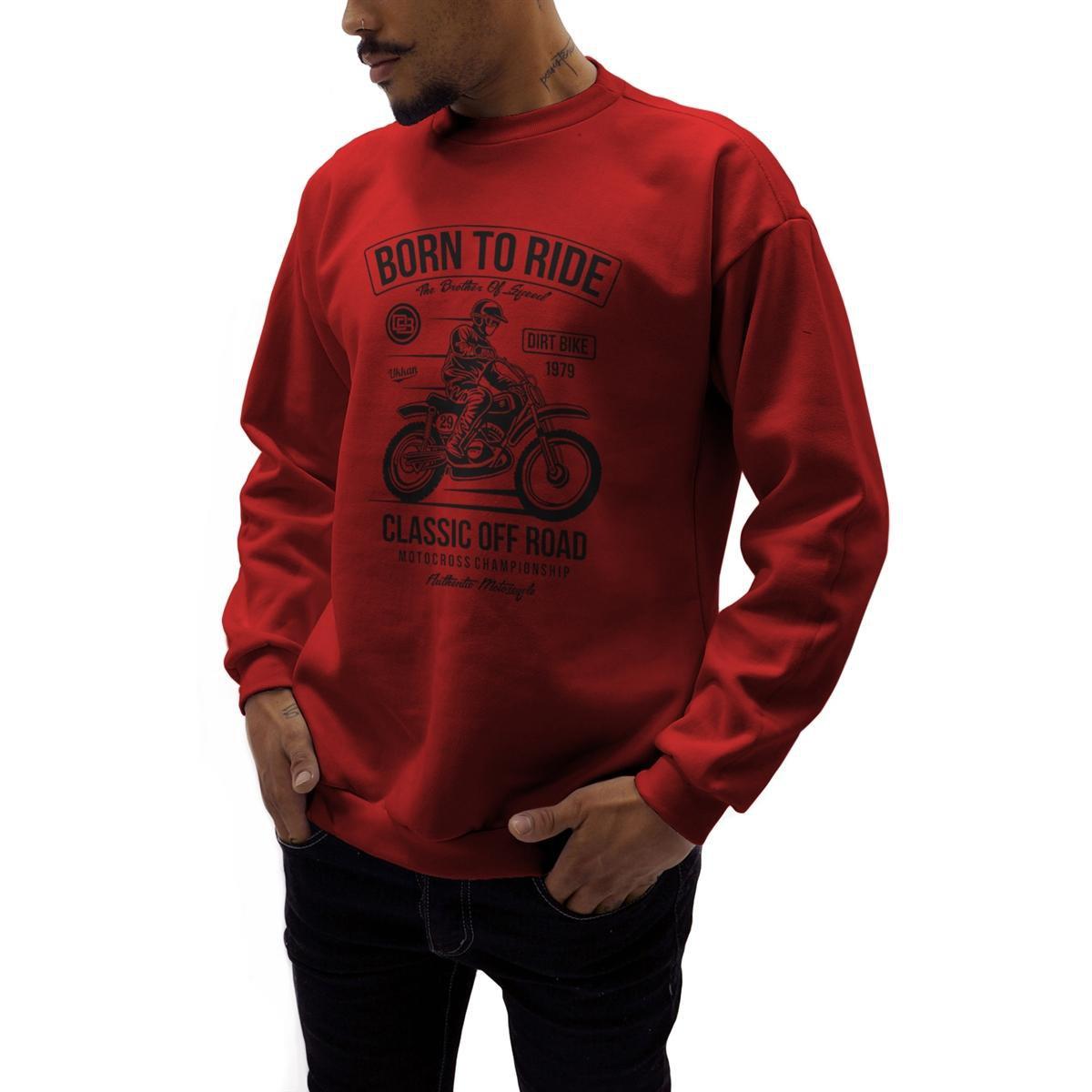 42f57c754 Moletom Crew Neck Ukkan Born To Ride Masculino - Vermelho - Compre Agora