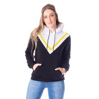 Moletom Feminino Canguru Blue Bay Geométrico Preto/Amarelo