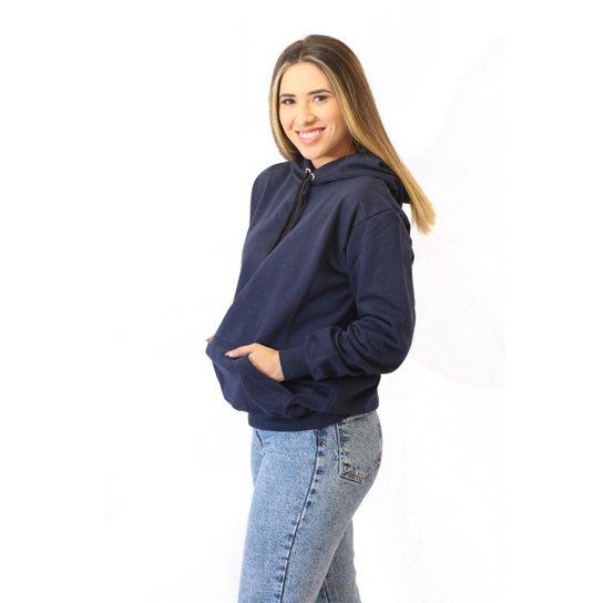 Moletom Feminino  Canguru Flanelado Liso Club 21 - Marinho