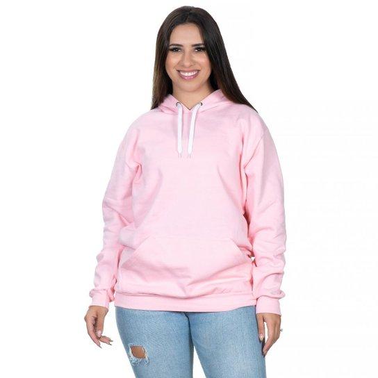 Moletom Feminino  Canguru Flanelado Liso Club 21 - Rosa