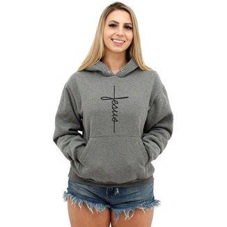 Moletom Feminino Canguru Premium Cristão Jesus