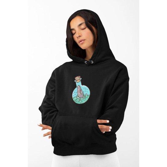Moletom Feminino GinTropical Baleia em algodão com capuz - Preto