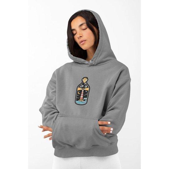 Moletom Feminino GinTropical Farol em algodão com capuz - Cinza