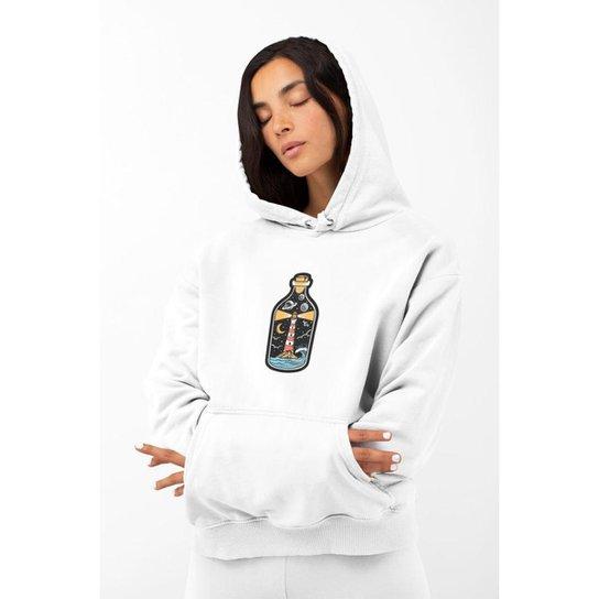 Moletom Feminino GinTropical Farol em algodão com capuz - Branco