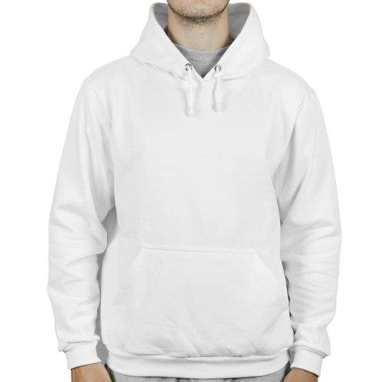 Moletom Form's Canguru Forrado Macio Bolso Masculino - Branco