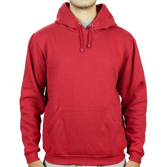 Moletom Form's Canguru Forrado Macio Bolso Masculino - Vermelho