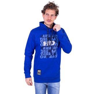 Moletom HD Fechado Com Capuz Azul Masculino