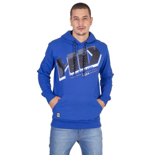 Moletom HD Fechado Com Capuz Masculino - Azul