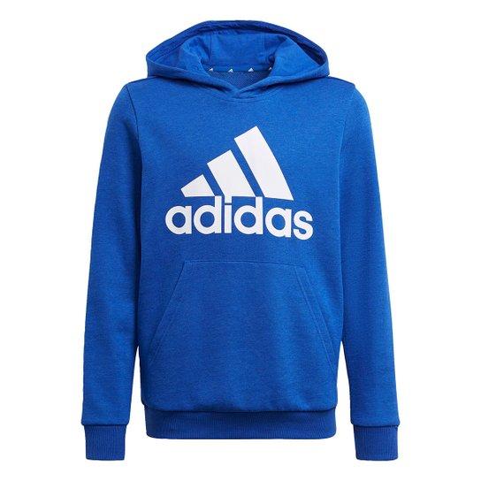 Moletom Infantil Adidas Big Essentials Capuz Masculino - Azul Royal+Branco
