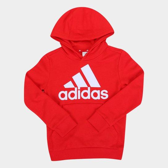 Moletom Infantil Adidas Big Essentials Capuz Masculino - Vermelho+Branco