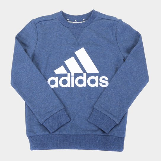 Moletom Infantil Adidas Essentials Masculino - Azul+Branco