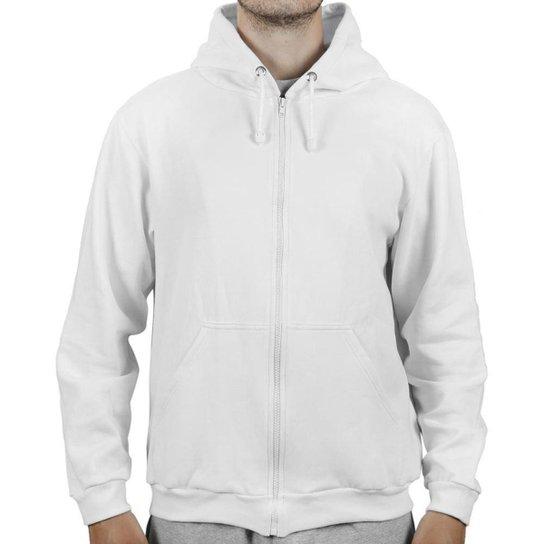 Moletom Masculino Liso Algodão Capuz Zíper Conforto Casual - Branco