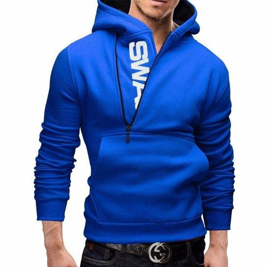 Moletom Masculino Slim Swag Azul Blusa Estilosa - Azul