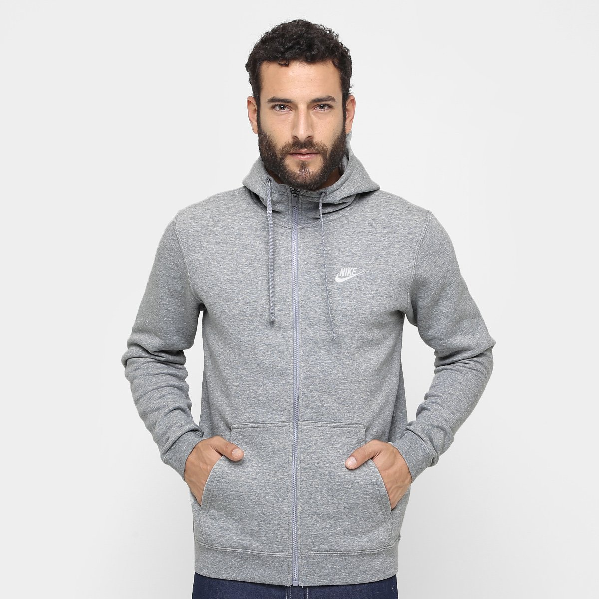 41967788d0b Moletom Nike Nsw Hoodie Fz Flc Club Masculino - Cinza - Compre Agora ...