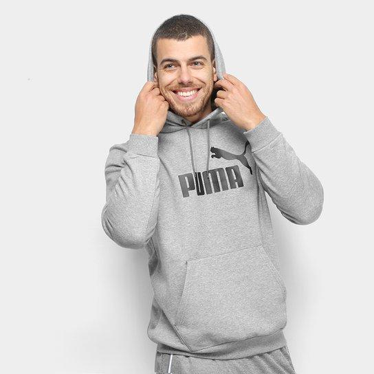 Moletom Puma Ess Hoody Fl Big Logo Masculino - Cinza