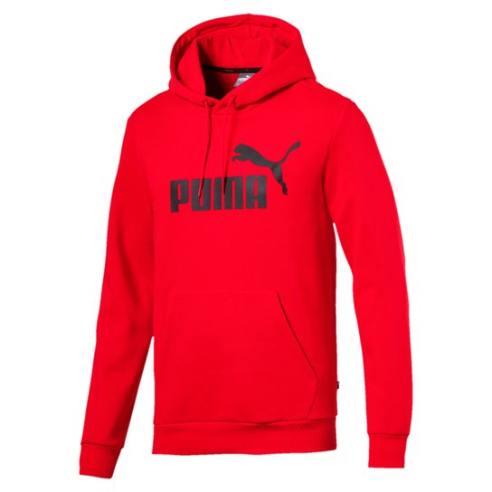 Moletom Puma Ess Hoody Fl Big Logo Masculino - Vermelho
