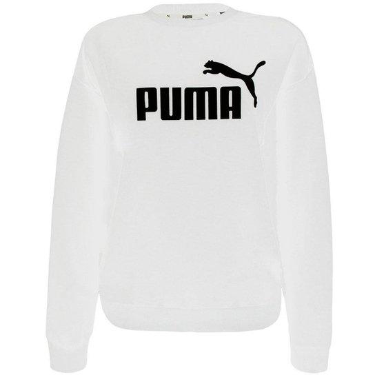 Moletom Puma Essentials Logo Crew Fl Feminino - Branco