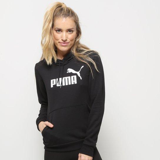 Moletom Puma Essentials Logo Hoody Feminina - Preto