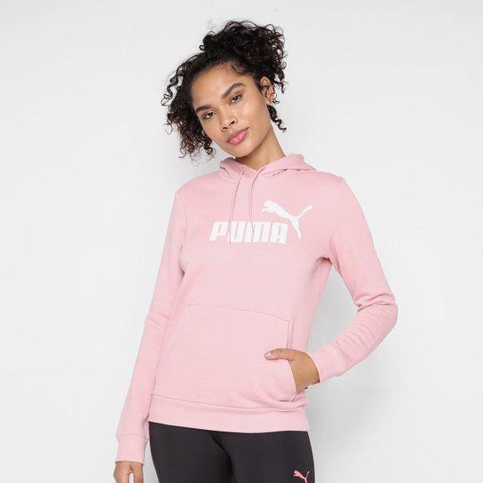 Moletom Puma Logo C/ Capuz Feminino - Rosa