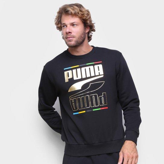 Moletom Puma Rebel Crew 5 Continents Masculino - Preto