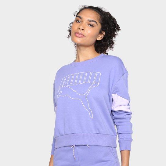 Moletom Puma Rebel Crew Feminino - Azul