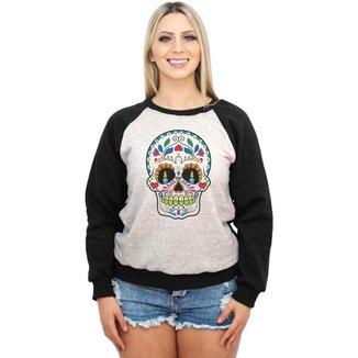Moletom Raglan Feminino Mescla Caveira Mexicana ES_017