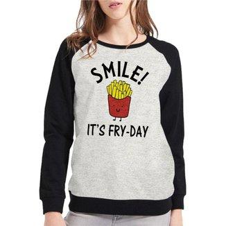 Moletom Raglan Feminino Mescla Divertido Smile It's Fry-Day ES_183