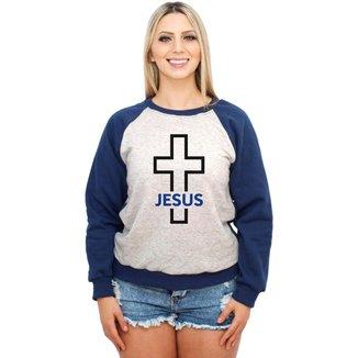 Moletom Raglan Feminino Mescla Religiosa Crucifixo Jesus ES_214