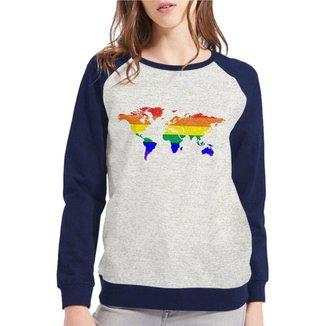 Moletom Raglan LGBT Mapa Orgulho Gay Feminino