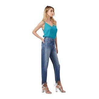 Morena Rosa Calça Morena Rosa Mom Cós Alto Básica Jeans