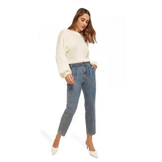Morena Rosa Calça Morena Rosa Mom Luisa Cós Alto Com Cinto Jeans