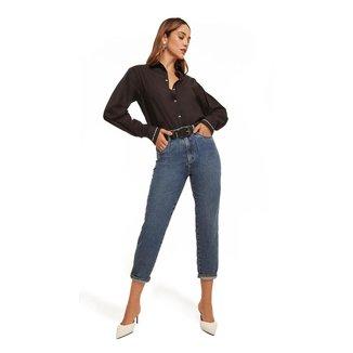 Morena Rosa Calça Morena Rosa Mom Luisa Cós Alto Com Laser Jeans