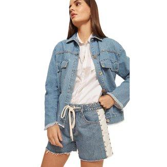 Morena Rosa Jaqueta Morena Rosa Classica Bordado Industrial Jeans