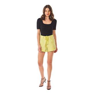 Morena Rosa Shorts Morena Rosa Five Pockets Com Cordão Verde