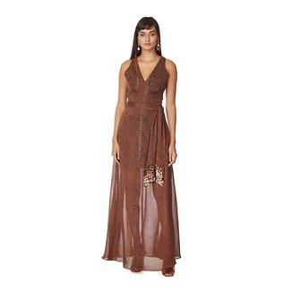 Morena Rosa Vestido Morena Rosa Longo Decote Transpassado Com Faixa Marrom
