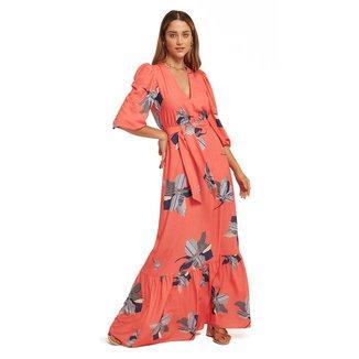 Morena Rosa Vestido Morena Rosa Longo Decote V Com Amarração Rosa