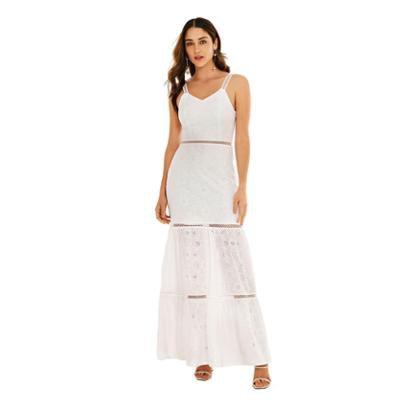 Morena Rosa Vestido Morena Rosa Longo Decote V Detalhe Laise Branco - Feminino-Branco