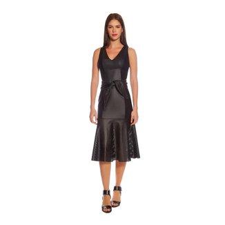 Morena Rosa Vestido Morena Rosa Midi Decote V Composê De Tecidos Preto