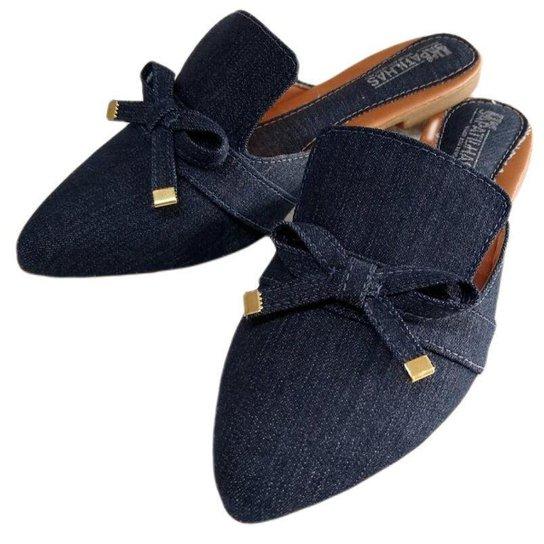 Mule bico fino jeans Feminino - Azul