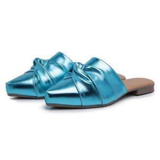 Mule Carmelo Shoes Casual Metalizado Nó Frontal Feminino