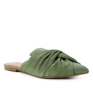 Mule Couro Shoestock Bico Fino Camurça