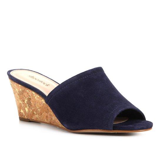 Mule Couro Shoestock Cortiça Metalizada - Marinho