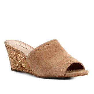 Mule Couro Shoestock Cortiça Metalizada